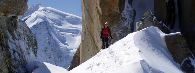 Photo: climbing on the Cosmique Arete above Chamonix