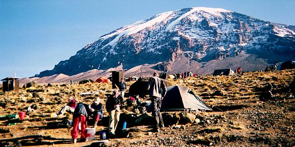 View of the southern icefields of Kilimanjaro from the Karanga camp at 3961m