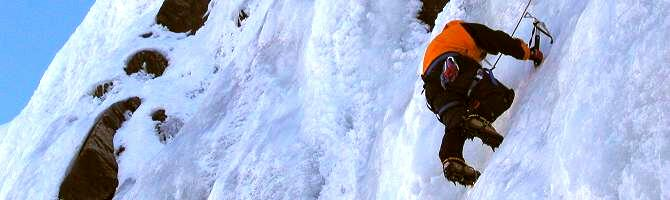 Ice climbing on Cascade du Tour, Winter Intro Ice & Alpine course
