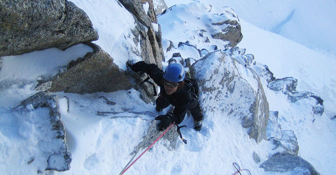 High on the Chere Couloir