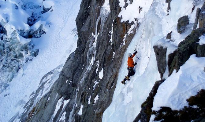 Ice climbing on Deferlante, far above the Argentiere Glacier icefalls