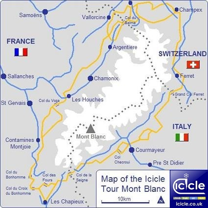 Map of the Icicle Tour Mont Blanc