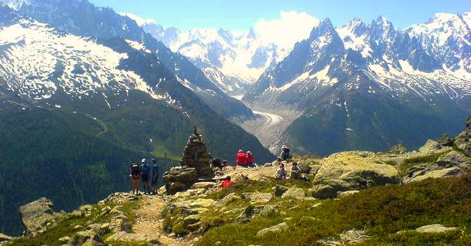 Looking over to the Mer de Glace from the Aiguilles Rouges