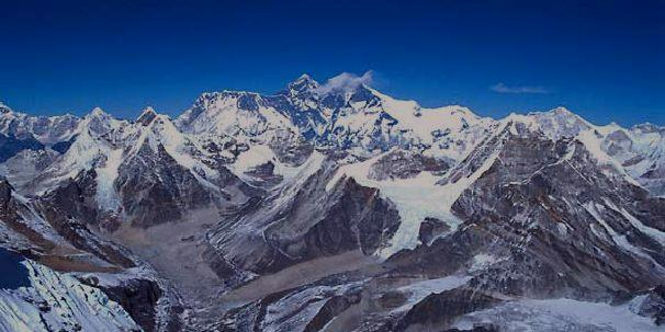 View from the summit of Mera Peak into the Khumbu & to Mount Everest.