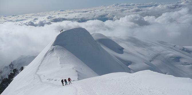 The stunning snow ridge above the Bosses on Mont Blanc