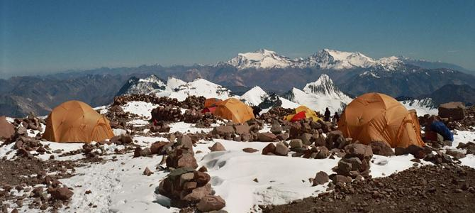 View across the Andes from Camp 2 on the Falso de Los Polacos route.