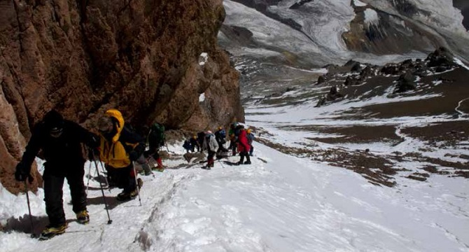 Ascending the Canaleta to reach the summit plateau of Aconcagua