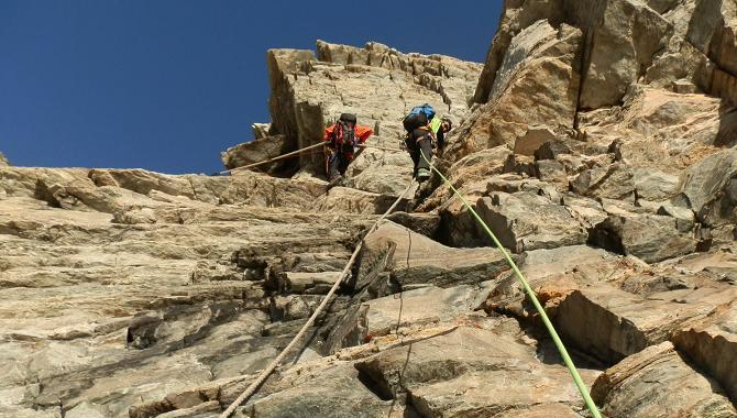 Ascending fixed ropes on the Hornli Arete of the Matterhorn