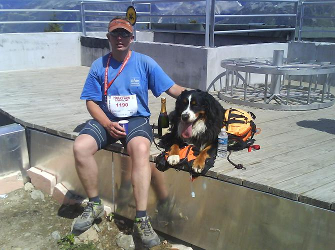 Kingsley  resting at the finish with Maximus